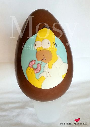 Homer Simpson  #easter #egg #homer #simpson #sugarpaste #sugarcraft #lightblue #yellow