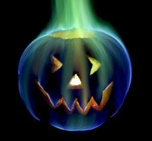 Here's my 2011 Halloween jack-o'-lantern, which features rainbow fire. - Anne Helmenstine