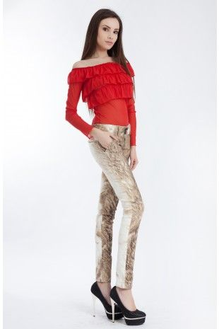 Pantaloni Astrid Caramel- www.zonia.ro