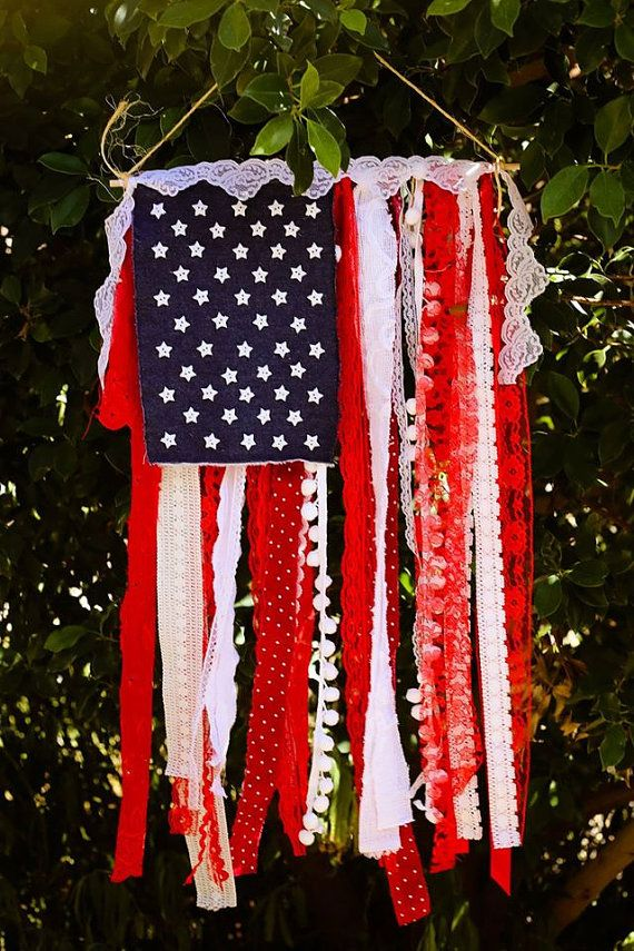 Celebrate America with this adorable Shabby Chic Flag Banner. This DIY Banner Kit includes everything you need to make this flag as shown. It will