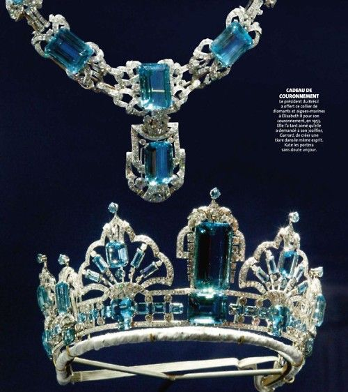 "Brazilian Aquamarine tiara and necklace, one of the newest set of british jewelry. From Brazilian president ,Getulio Vargas, and brazilian people as coronation gift to Queen Elisabeth. 1953    Not my ""cup of tea"", but i must say its pure awesomeness."