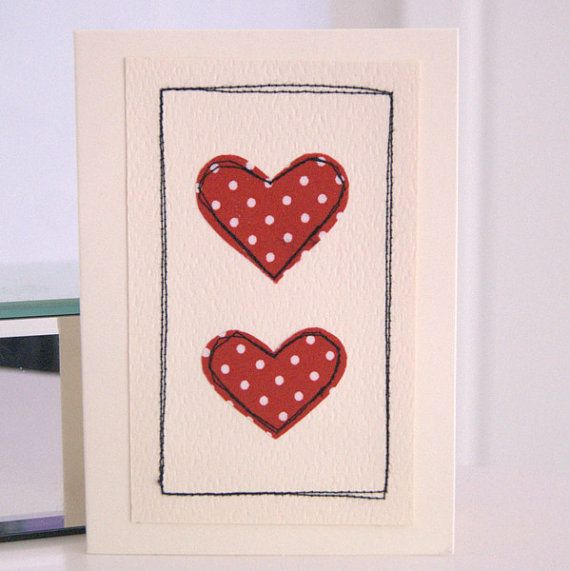 valentines card  handmade valentines card  red by dollywhatnot, £2.95