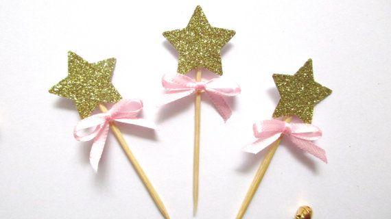 12 Glitter Stars Cupcake Toppers Gold Glitter Star by MagicalStart