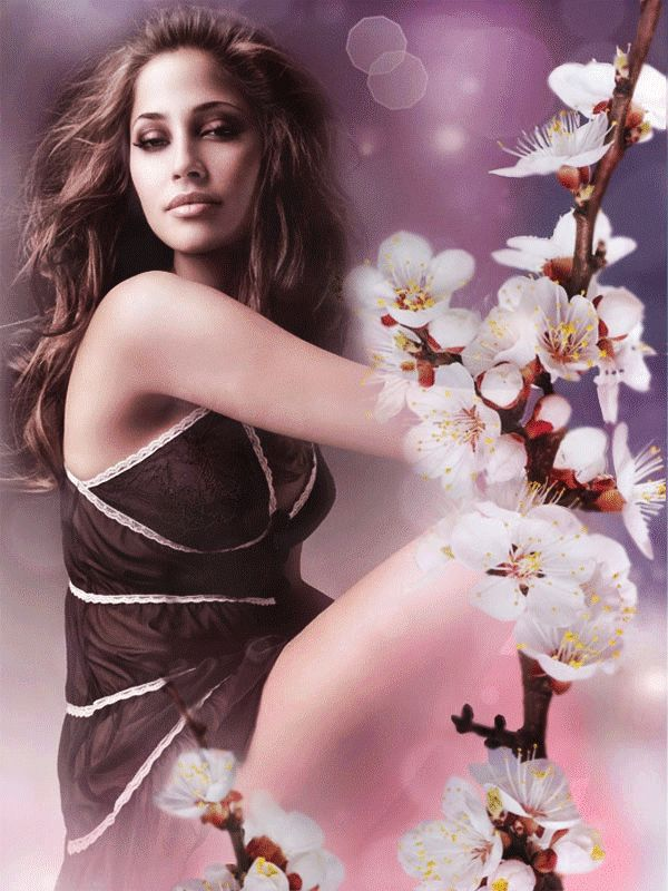 Animation όμορφη κοπέλα κάθεται σε ένα φόντο από ένα κλαδί με λουλούδια κερασιάς, την αντανάκλαση του ηλίου, SIFCO Όμορφη κοπέλα κάθεται σε ένα φόντο από κλαδιά με άνθη κερασιάς, ανταύγειες του ήλιου