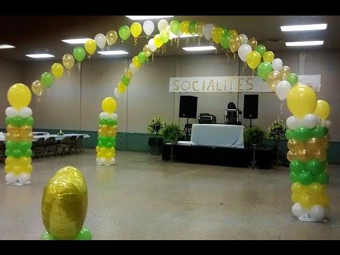 How it was Done. Building of a Balloon Dance Floor - Lime Green White Gold 2' Yellow Balloons - YouTube