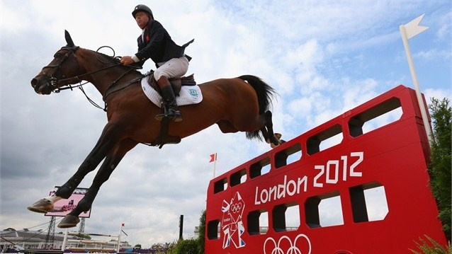 Nick Skelton of Great Britain riding Big Star in the Individual Jumping on Day 12 of the London 2012 Olympic Games at Greenwich Park.