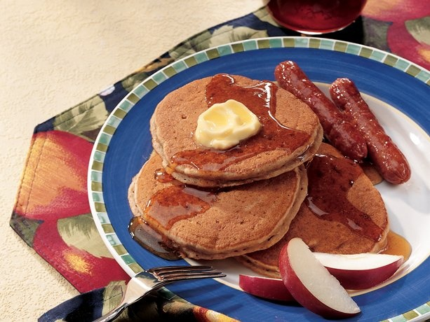 Gingerbread Pancakes With Buttered Apples Recipe — Dishmaps