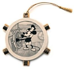 WDCC Disney Classics Steamboat Willie Mickey Mouse Ornament #WDCCDisneyClassics #Art . Ship's Wheel: Flat porcelain wheel plussed with gold paint accents and a black and white decal of Mickey as Steamboat Willie in the center. Created in honor of '75th Anniversary of Walt Disney Company.'  Reads '75 years of Love and Laughter on back. 1998 Production Only.