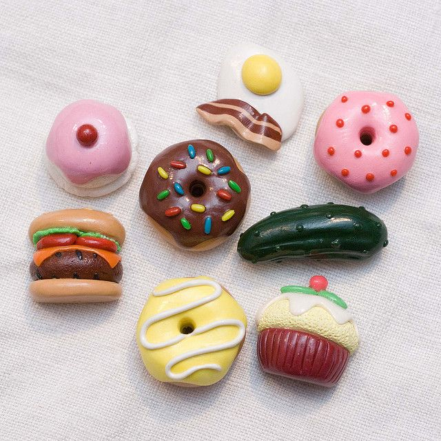 Polymer clay food fridge magnets polymer clay diy for Clay making ideas
