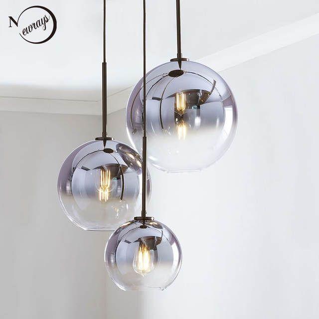 Online Shop Moderne Nordic Glas Anhanger Licht Led E27 Farbverlauf Loft Kreative Hangende Lampe Fur Home Schlaf In 2020 Moderne Lampen Glaskugel Lampe Innenbeleuchtung