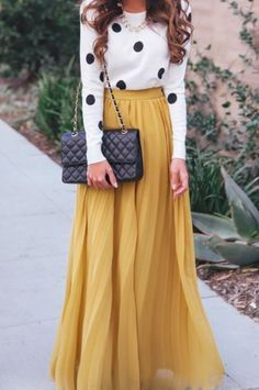 Pleated maxi and polka dots -winter wedding guest outfit