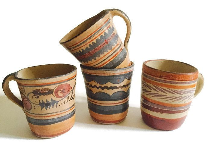 Vintage Set Mexican Pottery Mugs 4 Clay Hand Painted Southwestern Coffee Tea Mug Collection Rustic Farmhouse Meets Bohemian Brunch Set Gift by studio180 on Etsy https://www.etsy.com/listing/476433411/vintage-set-mexican-pottery-mugs-4-clay