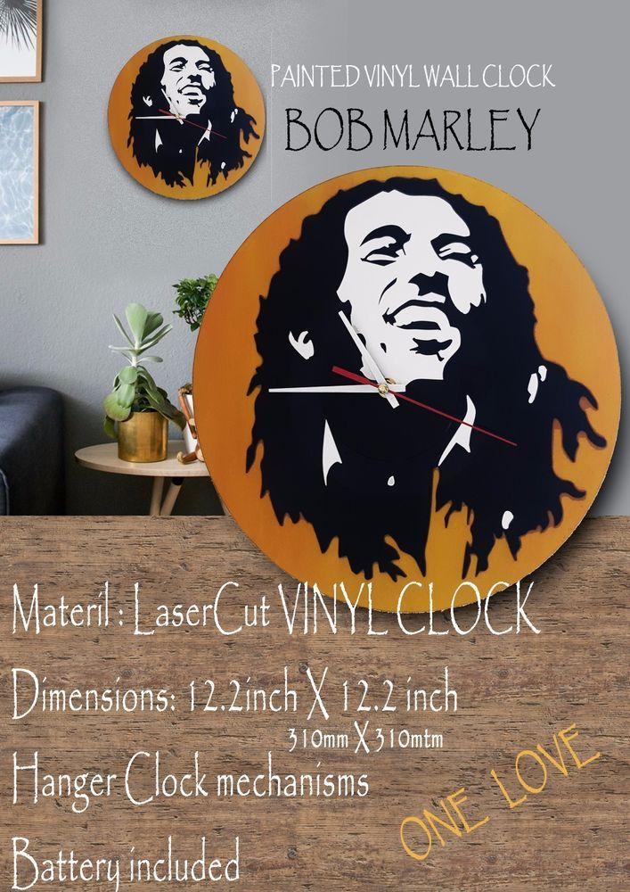 Bob Marley Painted VINYL WallClock #bobmarley #reggae #onelove #positive #gift  #TimeCraft