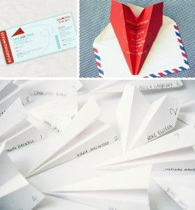 paper airplane seating cards!! then to be reused for our exit...
