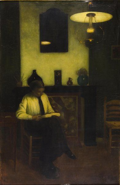 jan mankes dutch 1889 1920 interieur bij lamplicht interior by lamplight