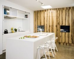 White, Kitchen, Modern, Hidden Kitchen, Timber Veneer