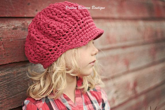 Crochet Slouch Hats for Girls, Slouchy Beanie with Bill, Slouchy Newsboy Hat, Red, Cotton, 2T to 4T via Etsy