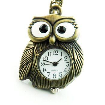 Античный темно-коричневый гарри поттер снитч брелок часы женщины / мужчины рождественский подарок постоянный сова часы мода часы сова WP007