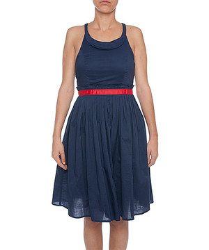 Look at this #zulilyfind! Lavand Blue & Red A-Line Dress by Lavand #zulilyfinds