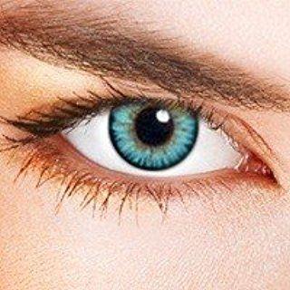 """Farbige Kontaktlinsen Himmelblau Zweifarbig """"Dual Tone Sky Blue"""" blaue Kontaktlinsen farbig ohne Stärke mit Kontaktlinsenbehälter"""