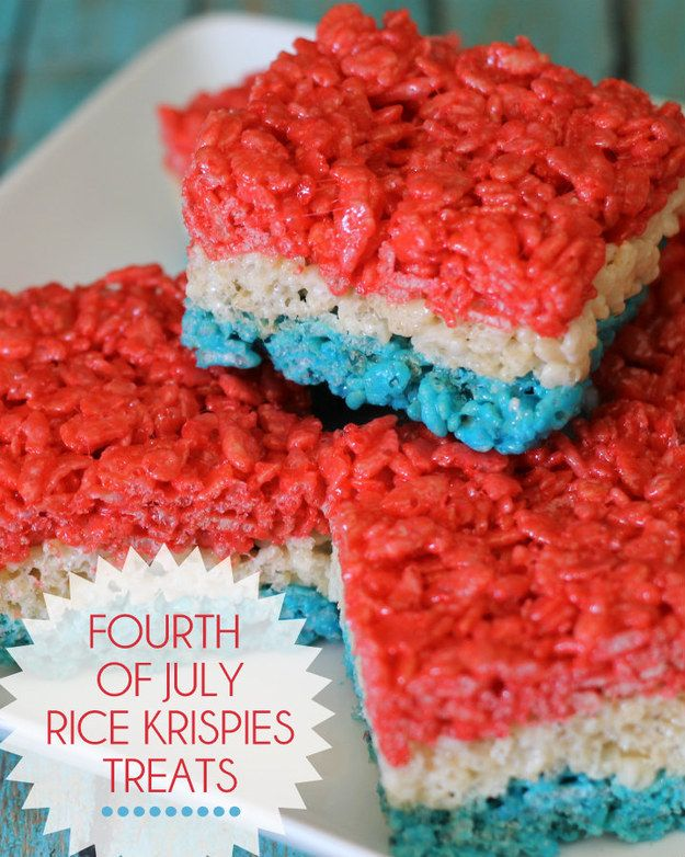 Colorful rice krispies treats are so easy you can let the kids do all the work. | 29 Fourth-Of-July Recipes Your Kids Will Love