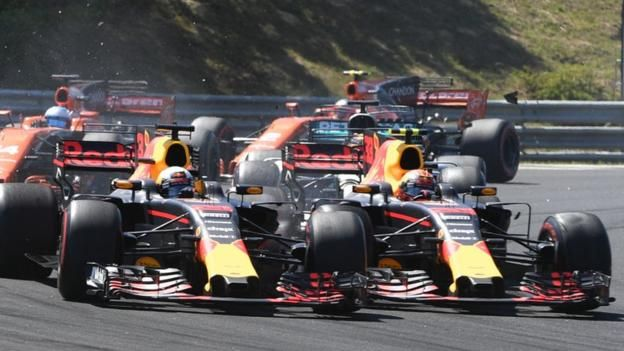 Hungarian Grand Prix: Max Verstappen apologises to Daniel Ricciardo for crash    Max Verstappen publicly apologises to Red Bull team-mate Daniel Ricciardo for taking him out on the first lap of the Hungarian GP.   http://www.bbc.co.uk/sport/formula1/40770481