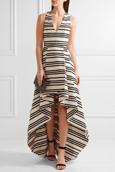 Alice Olivia - Aveena Asymmetric Striped Cotton-blend Gown - Cream - US10