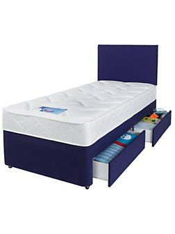 Kids Single Divan Bed With Storage Drawers And Free Headboard