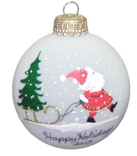 Old fashioned style keepsake #Christmas Ornament Santa Claus Pulling a Gold Sled with Christmas Tree- YOU can personalize for FREE- your message, name, date #treasurejourneys