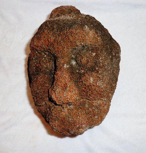 052 1800s  Hawaiian Polynesian Basalt stone carved ancestor statue / head