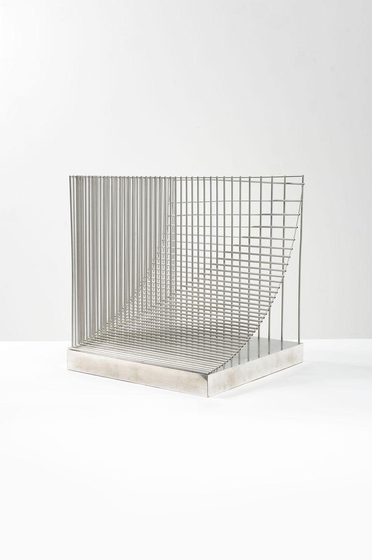 "Bertil Herlow Svensson [Sweden] (1929-2012) ~ ""Konstruktion"". i-section of industry Mechanics. Welded aluminum tubes (48 x 56 x 50 cm)."
