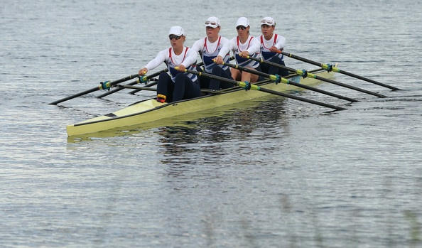 The Great Britain Women's Quadruple Scull team prepare to compete on Day 1 of the London 2012 Olympic Games at Eton Dorney on July 28, 2012 in Windsor, England.