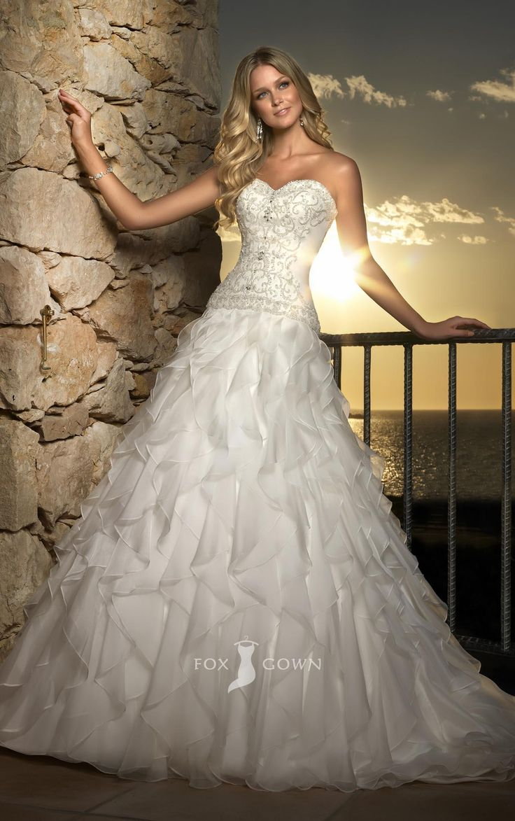 sweetheart a-line beaded embroidered bodice ruffle skirt wedding dress