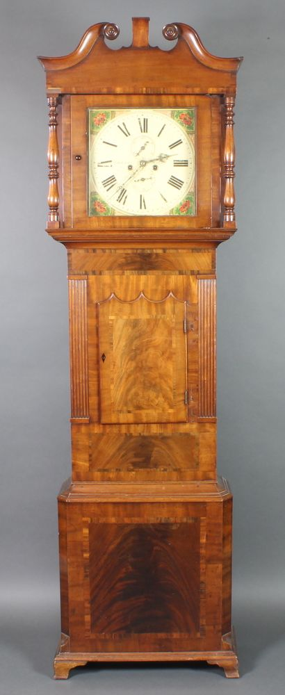 """Lot 777, T Milner, Wigan, an 18th Century 8 day striking longcase clock, the 14"""" painted square dial with subsidiary seconds and calendar dials, the crossbanded mahogany case with shaped door, on ogee bracket feet, sold for £280"""