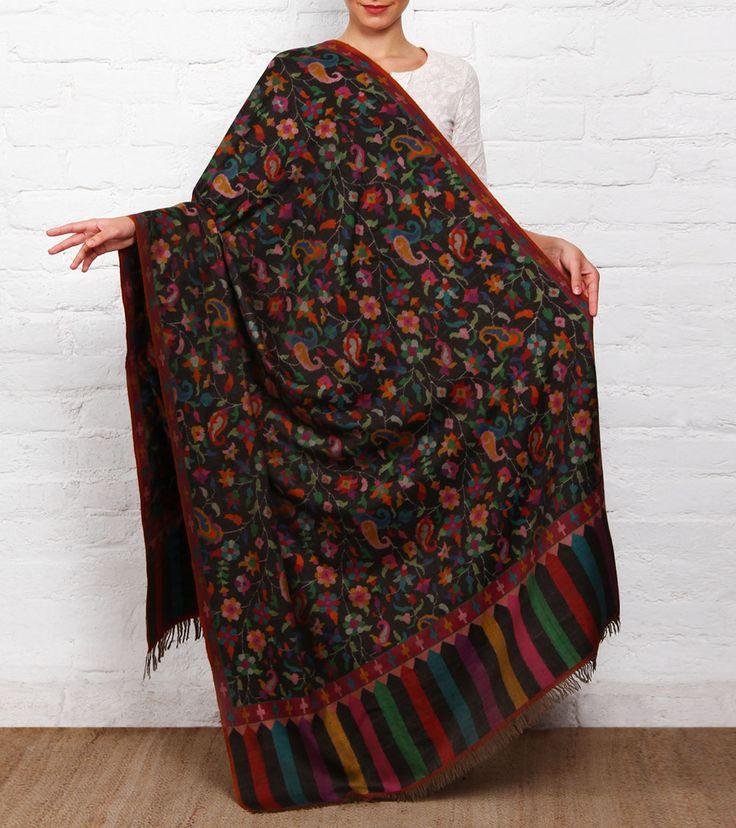 Charcoal Kani Embroidered Pure Pashmina Shawl #Ethnic wear #Pashmina #Shawls #dupattas #Indiancrafts