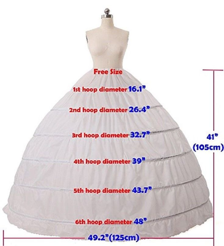 6 Hoop Crinoline Full A-Line Ground-Size Bridal Costume Robe Skirt Slip Petticoat
