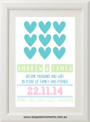 Hearts Wedding Print by Bespoke Moments. Worldwide Shipping Available.