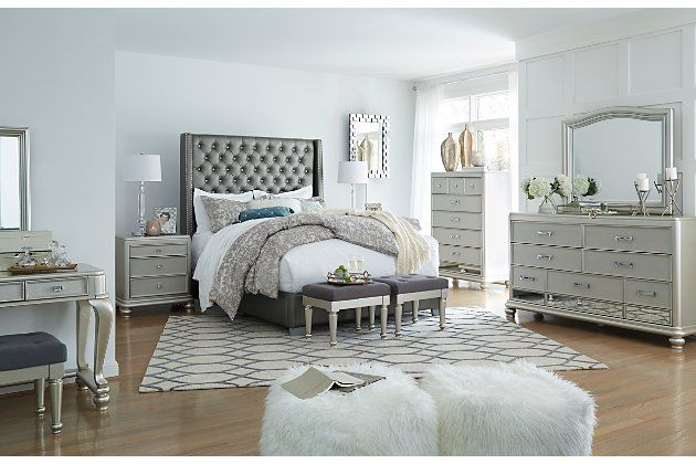 Coralayne Queen Upholstered Bed Ashley Furniture Homestore Queen Upholstered Bed Upholstered Beds Luxury Bedroom Furniture Ashley furniture grey bedroom set
