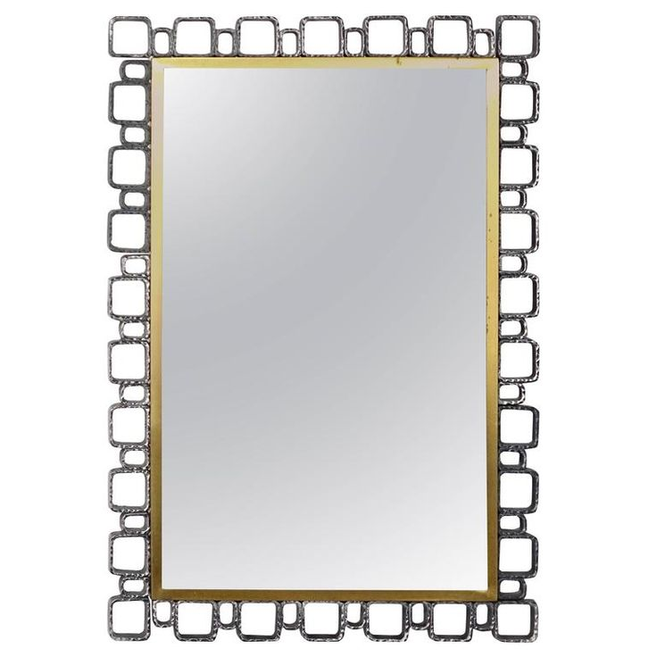 Hollywood Regency Brutalist Style Illuminated Mirror by Hillebrand 1