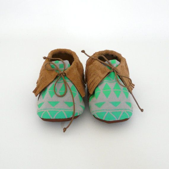 Baby mocassins S.23 2124 months green / light grey by ANAAME