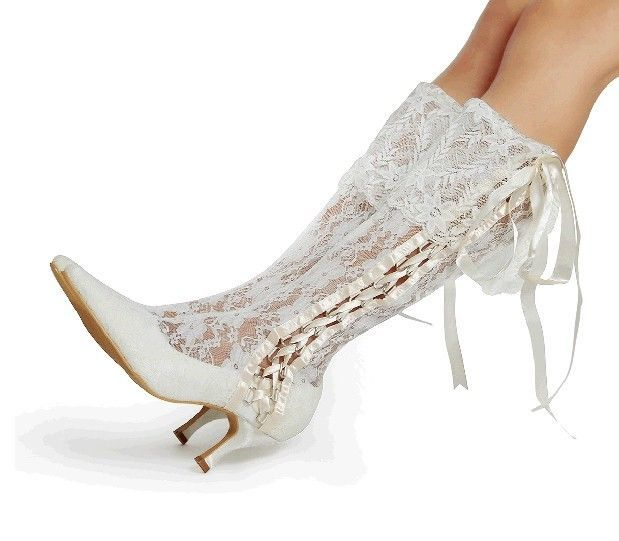 Details About Handmade Floral Lace Bridal Knee High Boots Heel Victorian Wedding Shoes