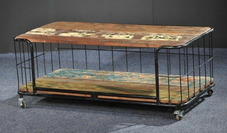 Extravaganter Design Couch Tisch Shabby Chic Vintage Metall Massivholz Loft