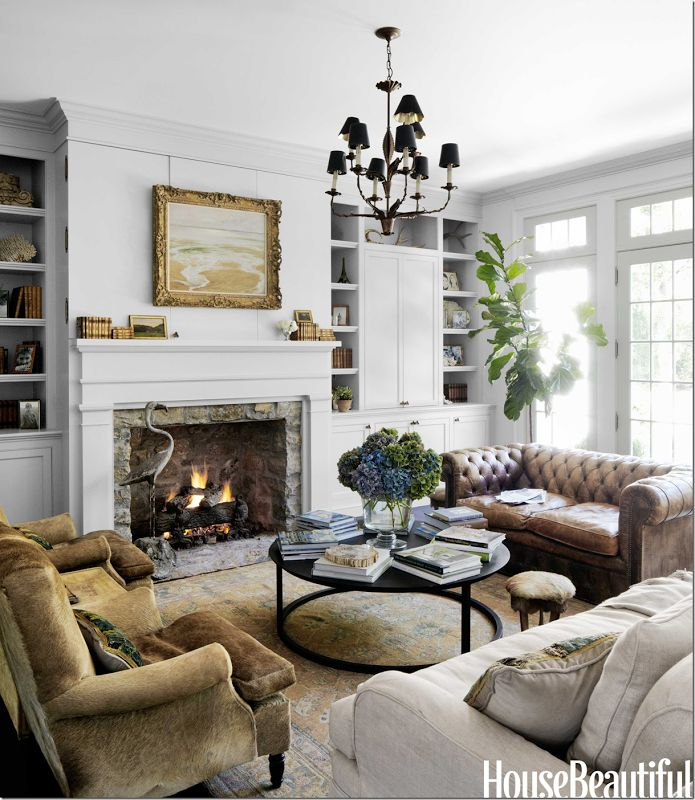 Pretty Living Room With Built Ins Jeannette Whitson I Hide Chairs And Distressed Chesterfield Sofa