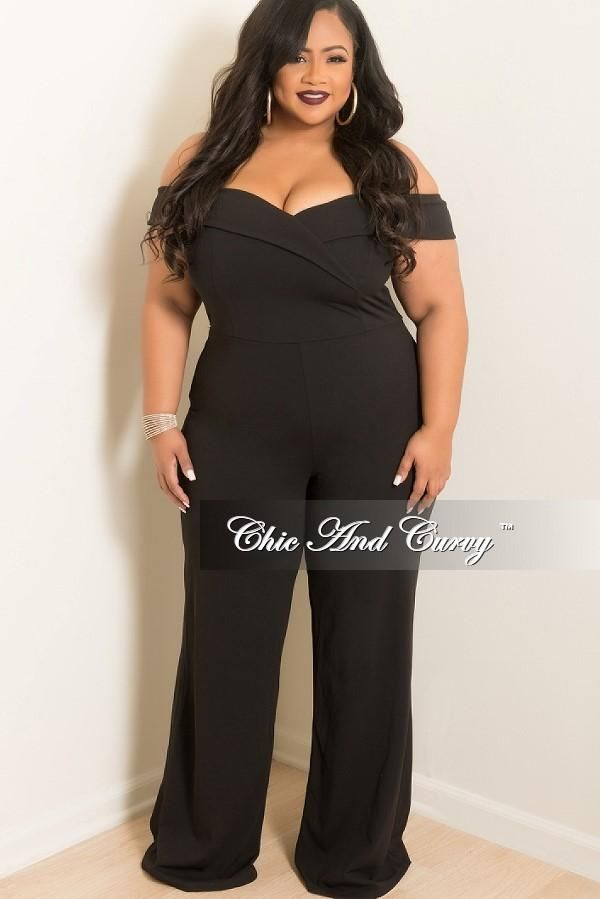 Plus Size Off The Shoulder Jumpsuit In Black Chic And Curvy Chic