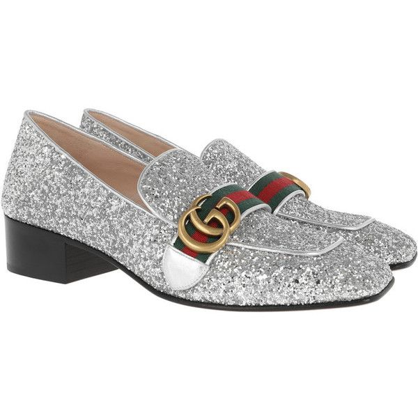 Gucci Loafers & Slippers - T Crystal Glitter Pump Silver - in silver -... (€760) ❤ liked on Polyvore featuring shoes, pumps, silver, crystal pumps, silver loafers, print pumps, buckle loafers and silver glitter shoes