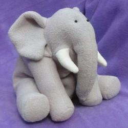 """Ellie is the latest """"Out of Africa"""" Funky Friend. He's made mainly from one colour, so he will be quick and easy for a beginner to make. Ellie looks fantastic in all sorts of bright colours, and if you want to make your elephant as a gift for a girl, Ellie also looks pretty in pink! – check out the picturesof Ellie in the gallery!"""