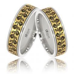Verighete Lux Varvara aur alb cu galben