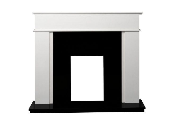 Adam Portland Marble and Granite Stone Fireplace in Sparkly White