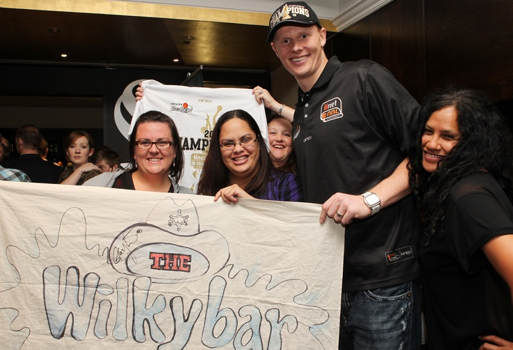 @ The Nation's Clubrooms - Gary Wilkinson from the SKYCITY Breakers celebrates the Championship win with fans