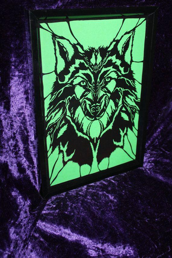 Wolf papercut framed. design credit to wildchild designs